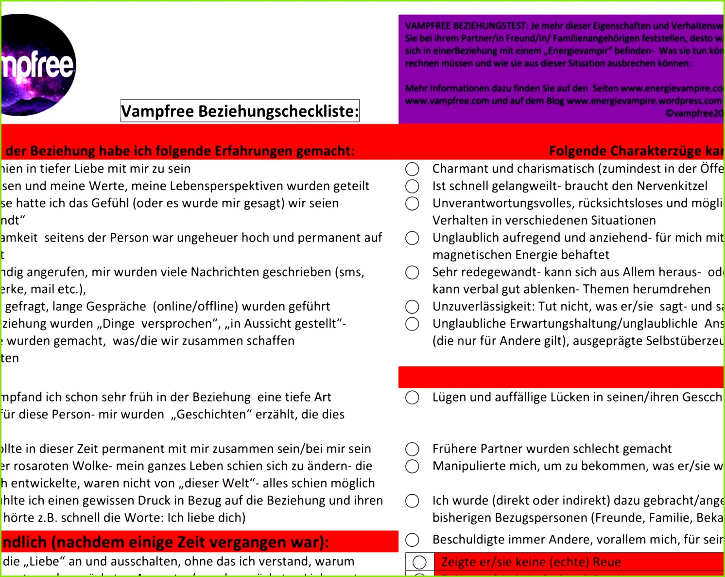 Checkliste Vampfree Ausschnitt