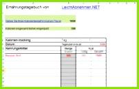 Ernährungstagebuch als Excel Datei zum Download – kostenlos