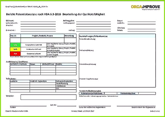 Erstmusterprüfbericht Vda Vorlage Download Fabelhafte Excel Vorlagen Prozessaudit Vda 6 3 Version 2016