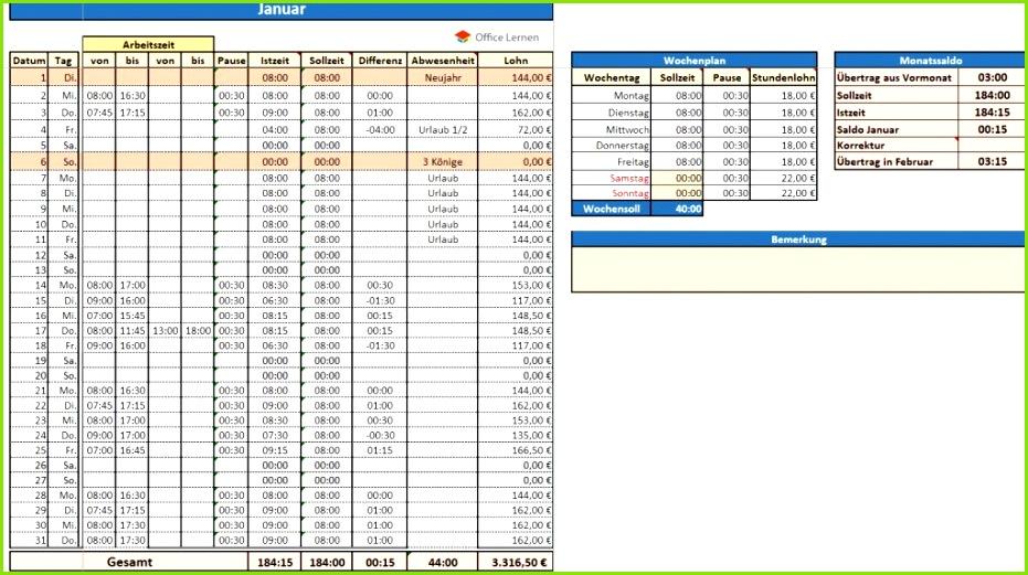 Excel Arbeitszeitnachweis Vorlagen 2019