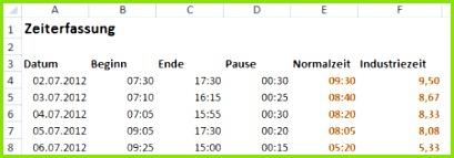 Rechnen mit Industriezeit in Excel