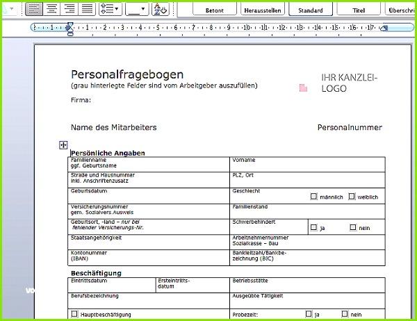Fachunternehmererklärung Vorlage Der Beste Muster Personalfragebogen Datev