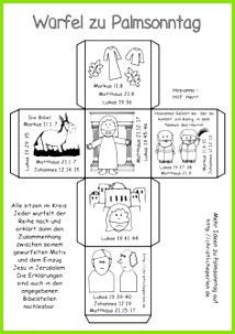 Basteln zu Palmsonntag Kirche Für Kinder Würfel Basteln Bibelgeschichten Basteln Bibel Für Kinder