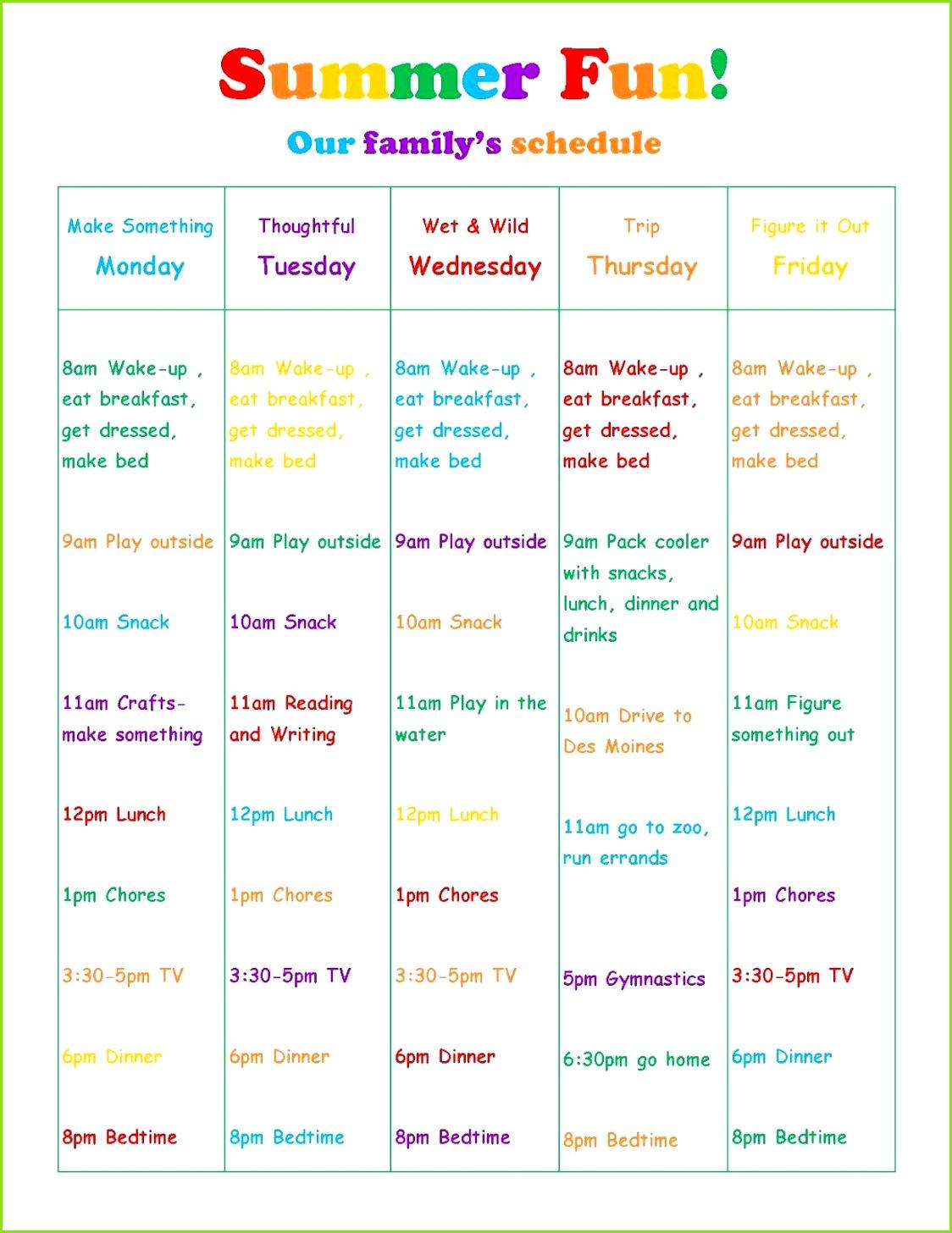 Lavender & Honey Summer Schedule