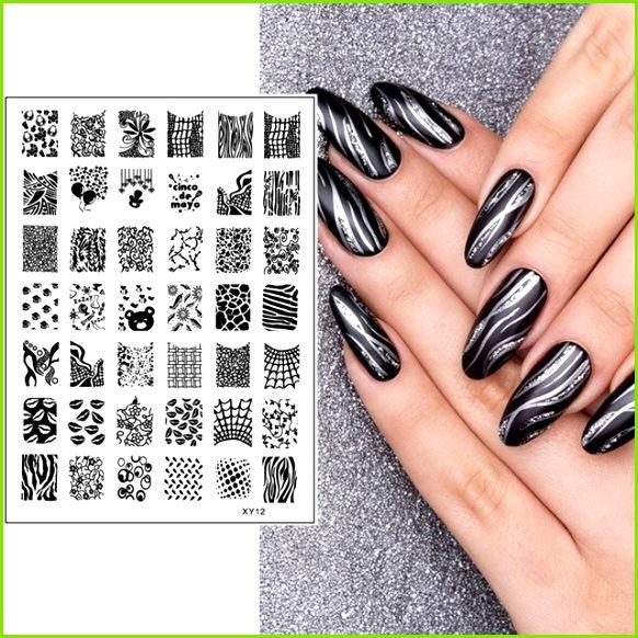 1 Stück New Nail art Stamping Streifen Grid Cobweb Lip Reben Designs Nail Stamping Vorlagen Maniküre