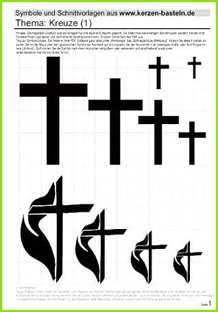 Vorlage Kerzen gestalten Schablone Kreuze