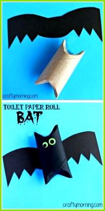 Ganz einfaches Halloween Basteln Fledermaus aus Klopapierrollen Toilet Paper Roll Bat Art Project Halloween craft for kids autumn activities for