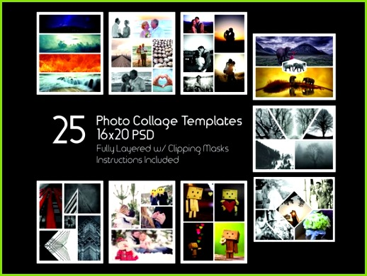 16x20 Collage Templates Pack 25 PSD Templates shop Collage Templates Scrapbook Storyb