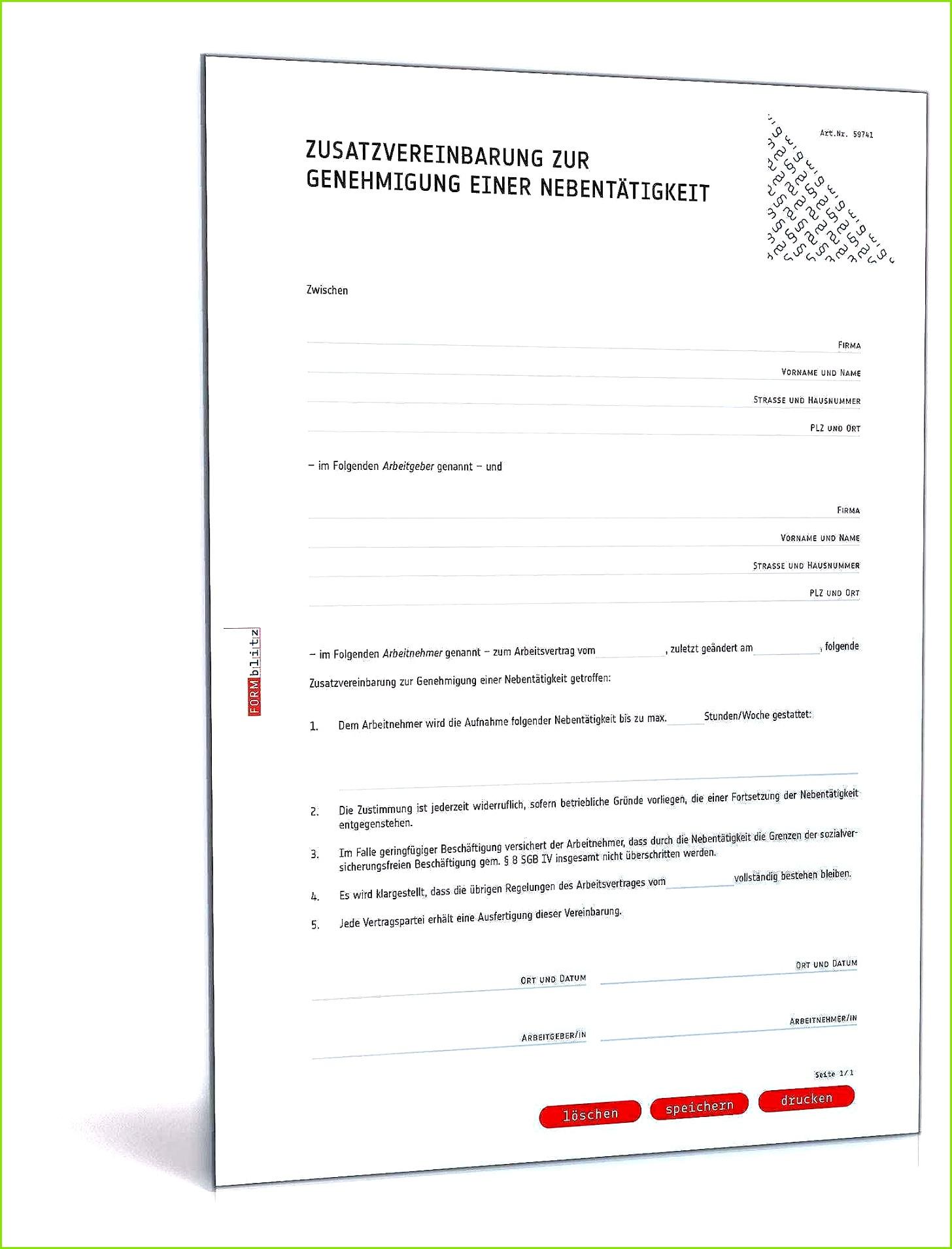 Führerscheinkontrolle Arbeitgeber Vorlage Angenehme Zusatzvereinbarung Genehmigung Nebentätigkeit Muster