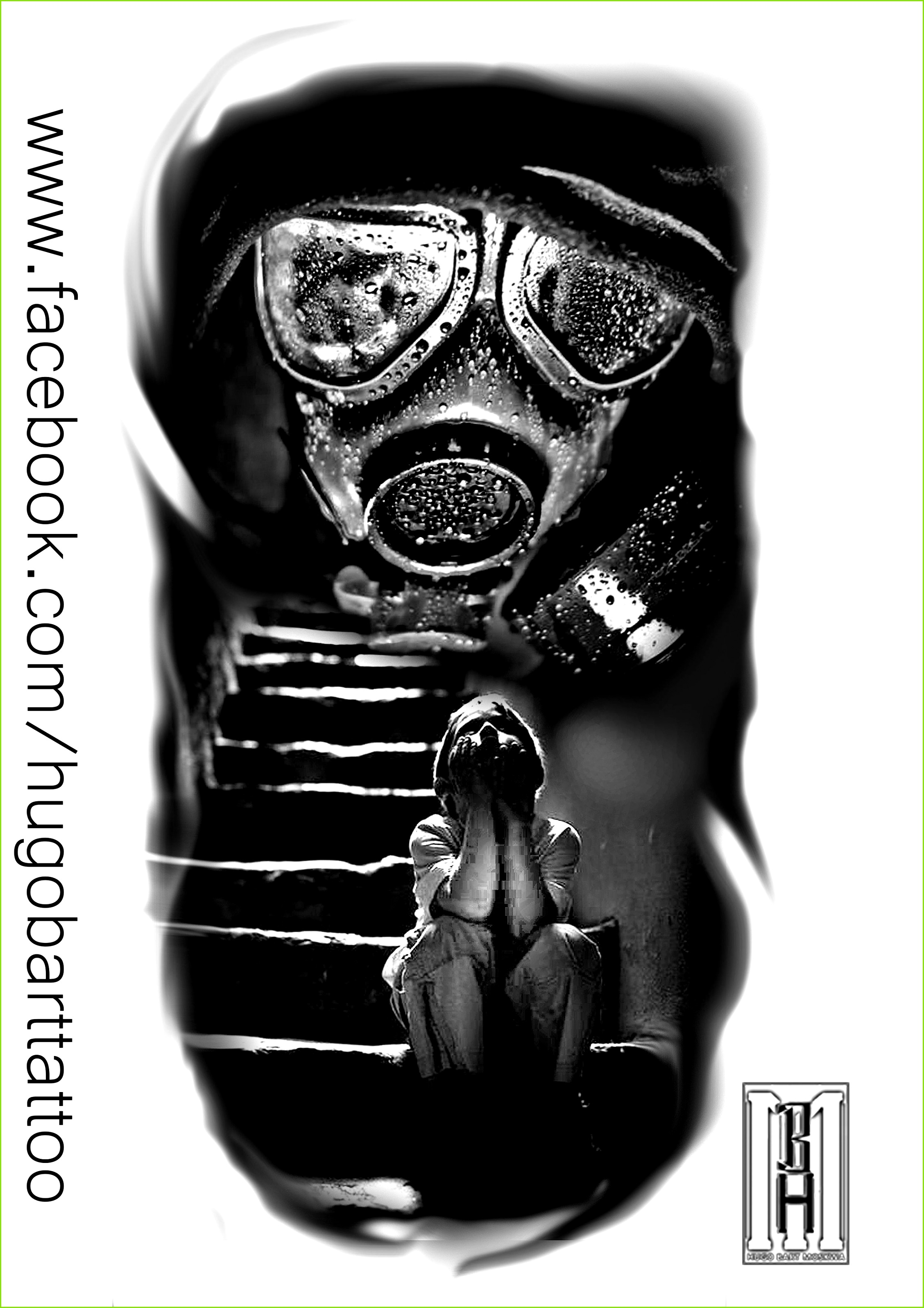 mask gasmask scarry boy face stairs zombie creepy digital black and grey tattoo design