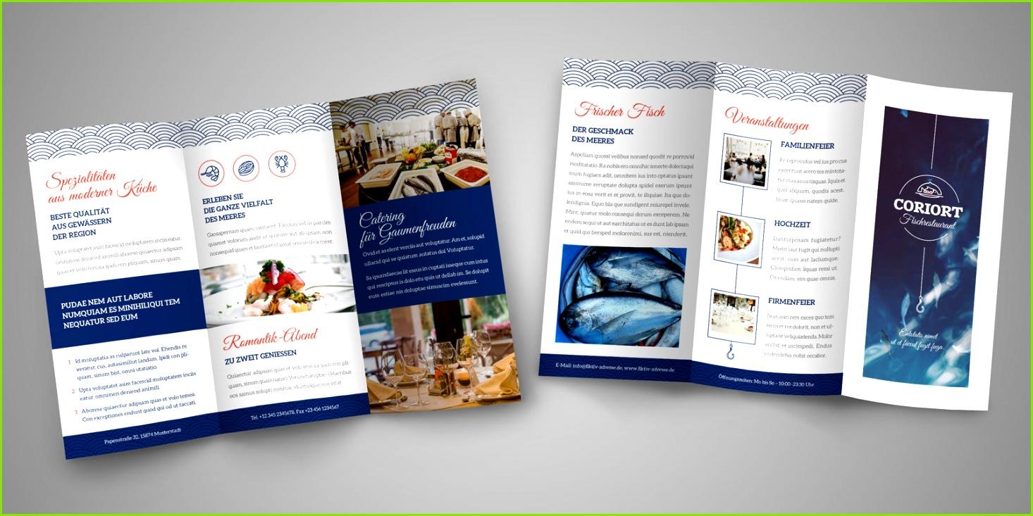 Flyer Vorlage für ein Fisch Restaurant Vielfalt für dein Design