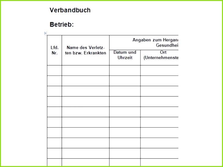 Gefährdungsbeurteilung formular Probe Genial Verbandbuch Vorlage
