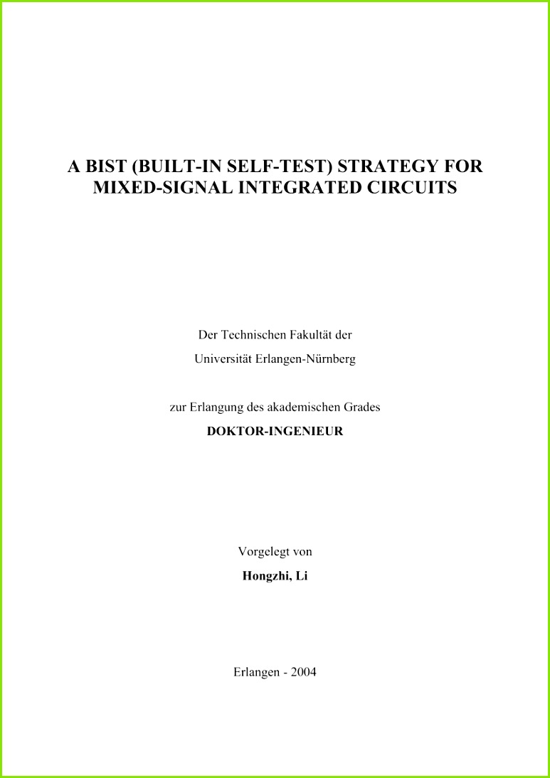 PDF A BIST Built In Self Test strategy for mixed signal integrated circuits
