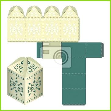 Fototapete Geschenktüte Verpackung Vorlage große Gunst Box mit Spitzen Zelt handgefertigte Handwerk Packet Design