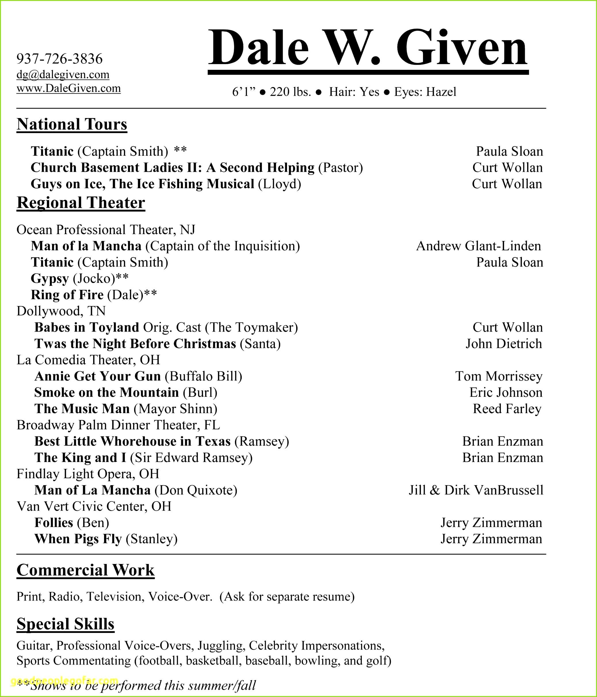 6 Second Resume Template Fresh Skills for A Resume Fishing Resume 0d 38 Schöpfung Initiativbewerbung Vorlage douglaschannelenergy – Musical Gutschein