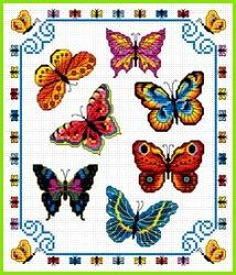 Kreuzstich Kreuze Kreuzstich Stickvorlagen Stickereimuster Kreuzstichmuster Schmetterlings kreuzstich Marienkäfer