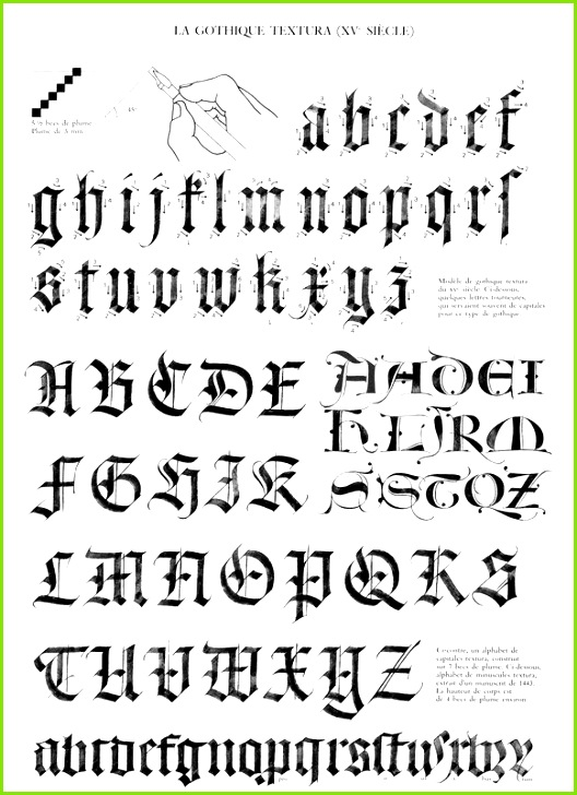 textura Gothic Script Gothic Lettering Gothic Fonts Hand Lettering Calligraphy Templates