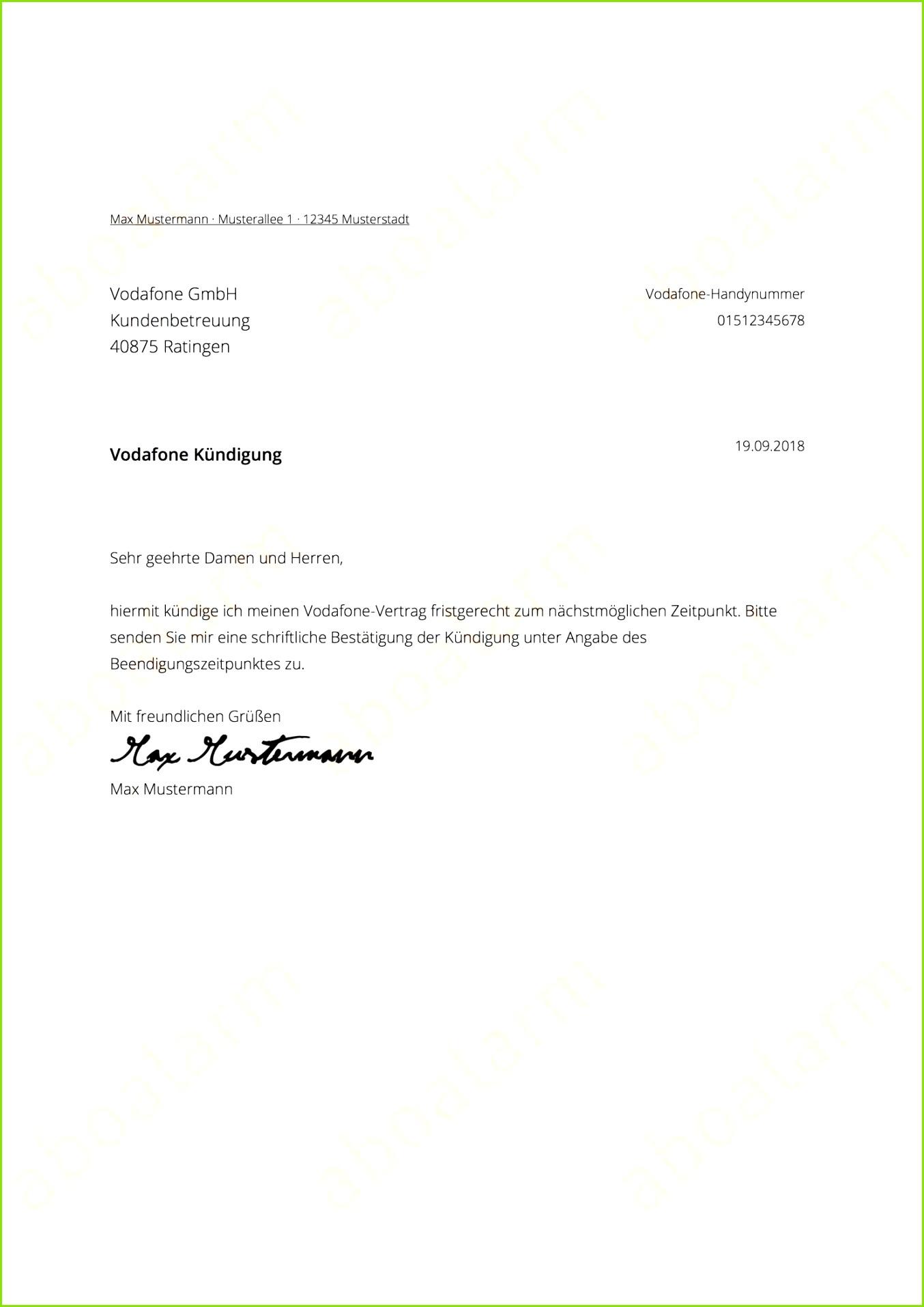 vodafone handyvertrag direkt ✅online kündigen & Vodafone Handyvertrag Kundigen Muster