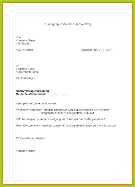 Handyvertrag O2 Kündigen Vorlage Pdf Foto Die Erstaunliche Vodafone Kündigung Wegen Umzug