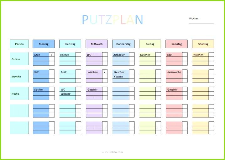 Putzplan zum Ausdrucken PDF Word Haushaltsplan Vorlage Aufgabenliste Kommandozentralen Organisieren
