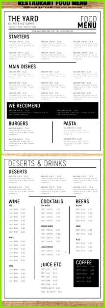 Minimal Restaurant Food Menu Template PSD Pizza Flyer Pizza Menu Menu Flyer Party