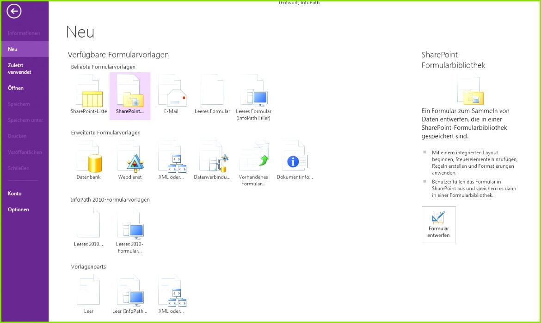 Erstellen eines Formulars mit InfoPath