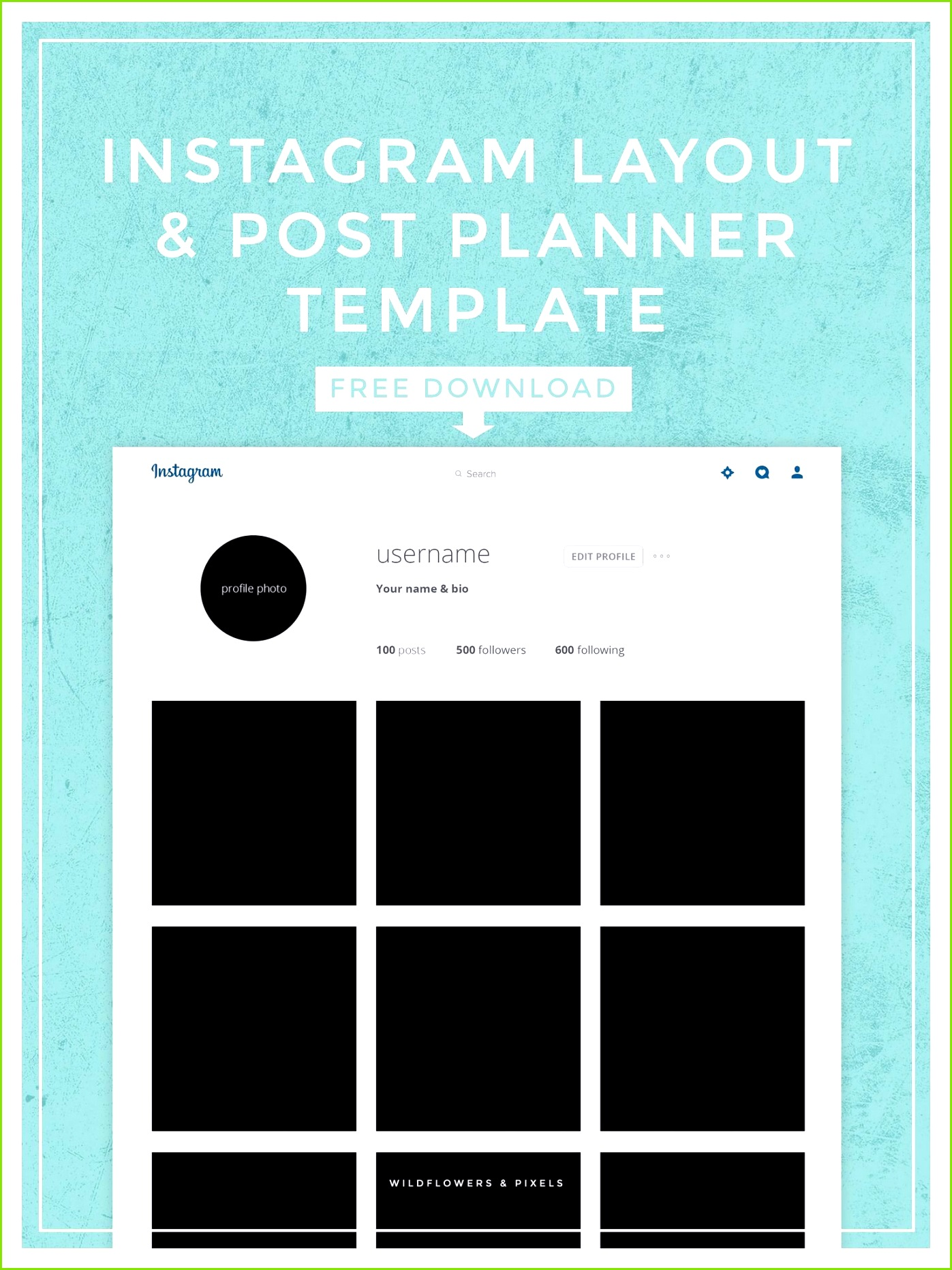 Instagram Layout & Post Planner Template Free PSD Download