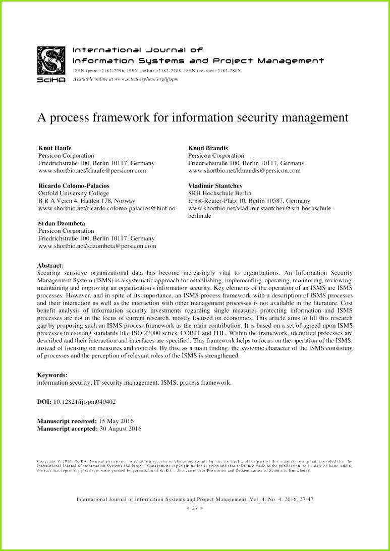 PDF ISMS Core Processes A Study