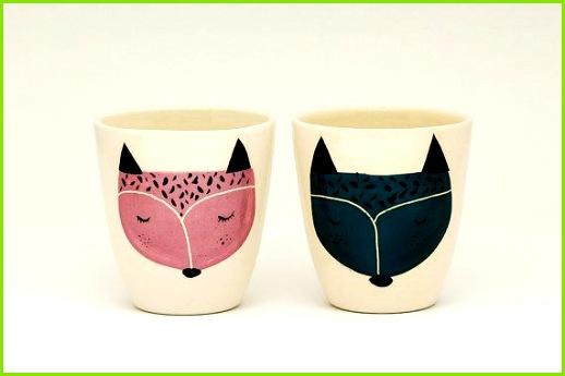 Satz 2 handgefertigte Keramik Tasse Keramik Kaffeetasse Kaffeetasse Fuchs Illustration Serveware Geschirr Geschenkidee MADE TO ORDER