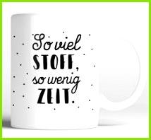 """Tasse für Nähfans mit Spruch """"So viel Stoff so wenig Zeit"""" Keramikbecher via Makerist"""