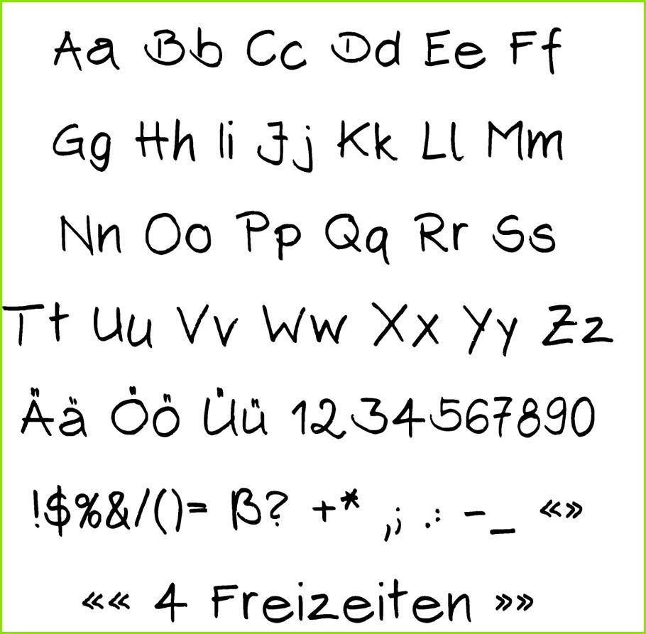 4 Freizeiten Wie meine Handschrift in den puter kam Font erstellen