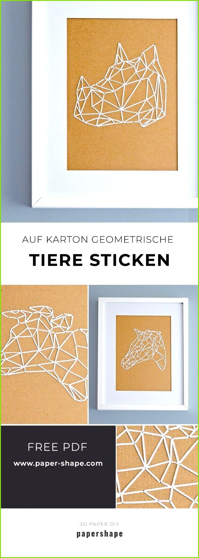 Geometrische Tiere sticken Nashorn Kuh Pferd Hase auf Karton als Wanddeko mit kostenlosen Vorlagen von papershape