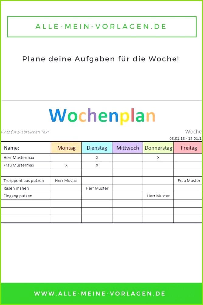 """Mit der kostenlosen Vorlage """"Wochenplan"""" kannst du deine Aufgaben und ToDo´s wöchentlich"""