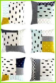 bunte geometrische Muster Patchwork Kissen selber nähen Geometrische Muster Quilt Kissen Patchwork Kissen