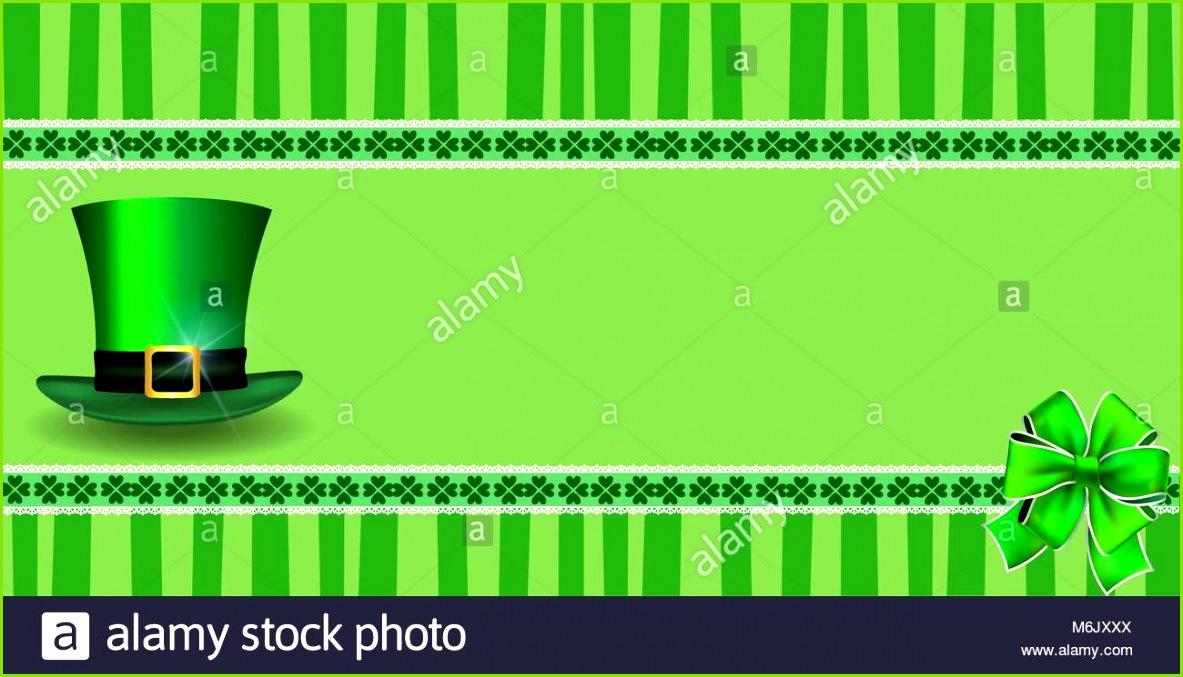 Saint Patrick s Day Vorlage mit Klee festliche Spitze Bug und Kobolde Hut und kopieren Sie
