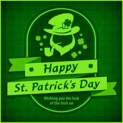Kobold grüne Vorlage Karte Heiligen Patrick Tageskobold mit Rohr Bart Hut und Kleegras entwerfen Muster u Text Vektorillustration