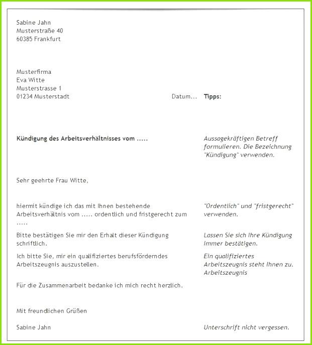 20 Kündigung Vorlage Arbeitsvertrag