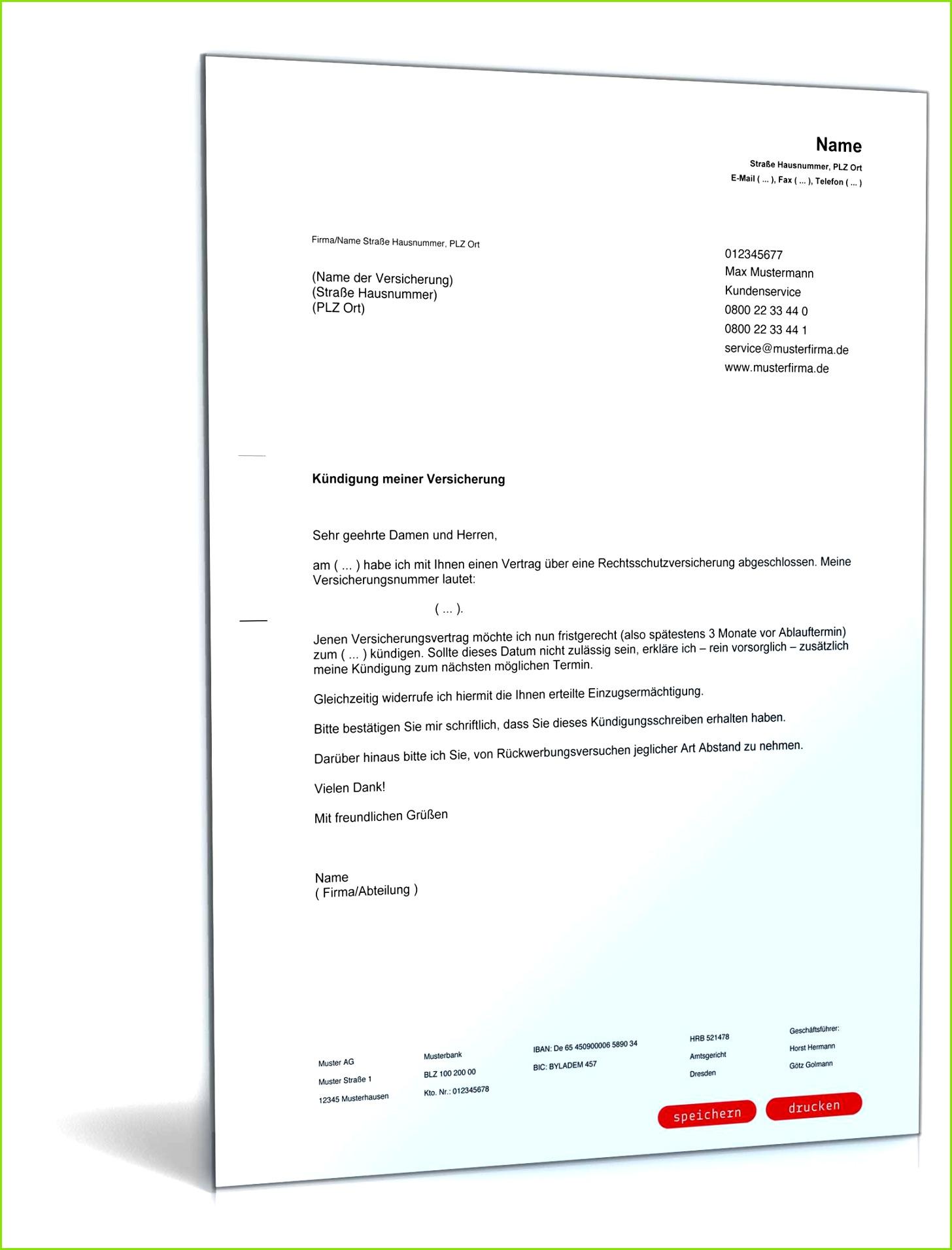 Vorlagen · Kündigungsschreiben Kündigung Rechtsschutzversicherung Kündigung Rechtsschutzversicherung