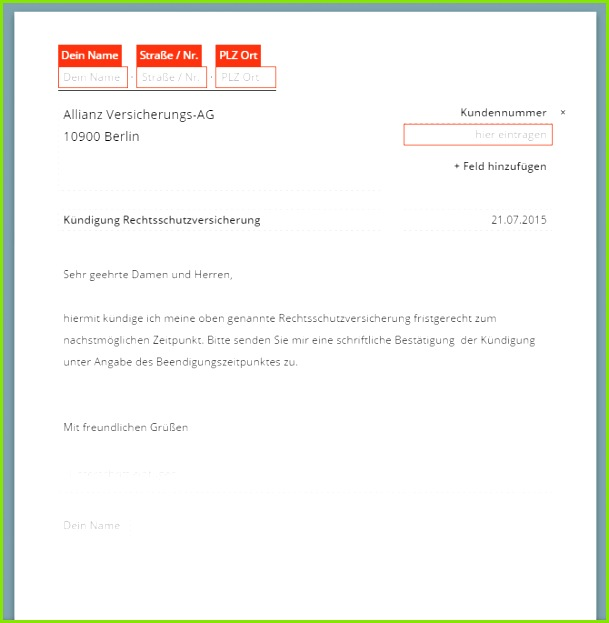 Allianz Rechtsschutzversicherung Kündigung Vorlage
