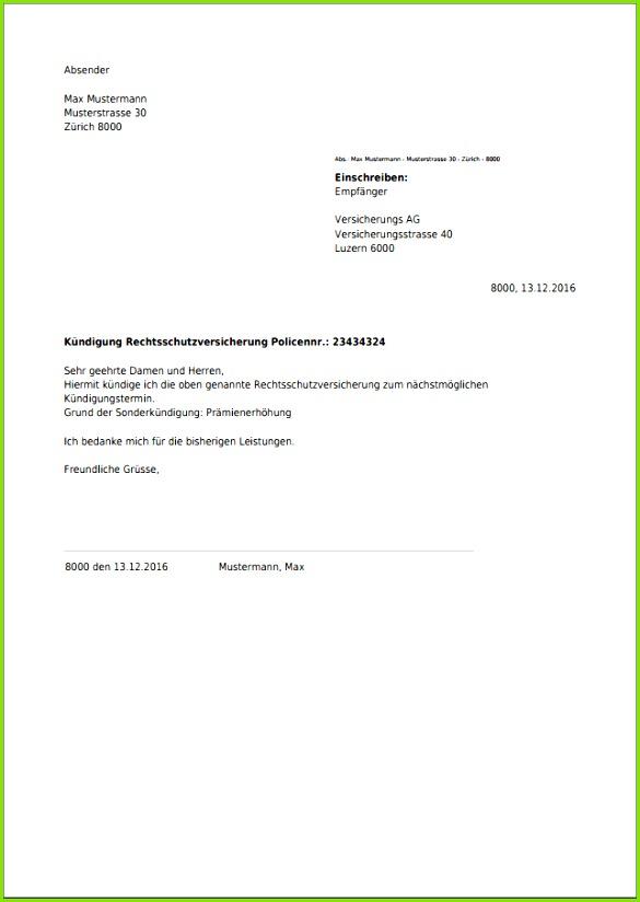 Muster Kündigung Rechtsschutzversicherung Vorlage