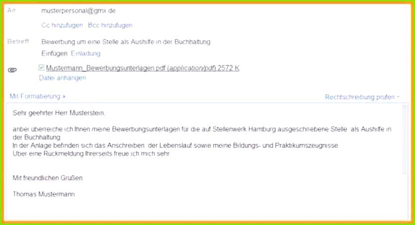 Bewerbung Per E Mail einzigartiges e mail bewerbung muster