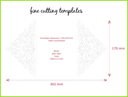 Wedding Invitation card template for cutting laser cut Cutout paper gate fold card