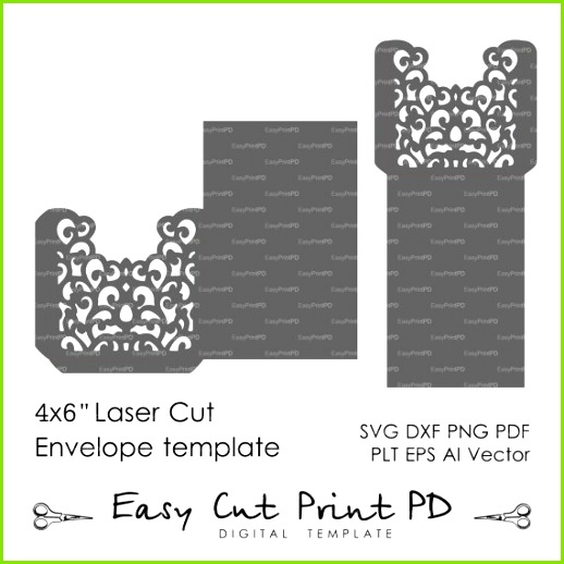 "Swirl filigree Wedding Envelope 4x6"" pattern Template svg dxf ai eps"