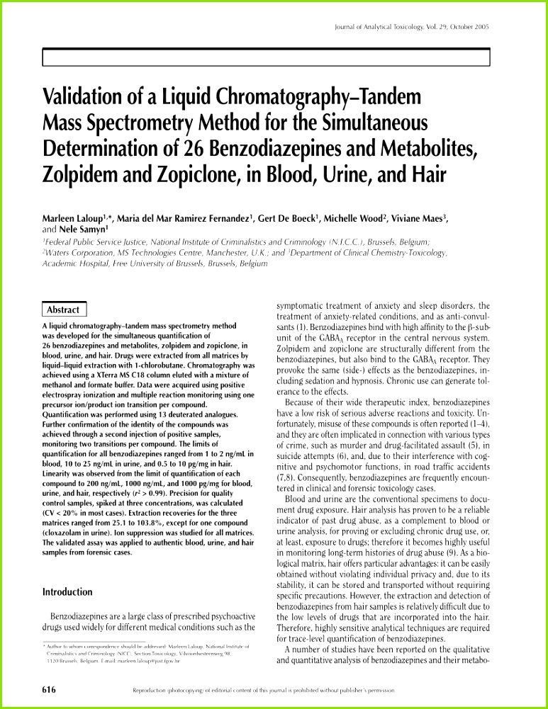 PDF Quantitation of Benzodiazepines in Urine Serum Plasma and Meconium by LC MS MS