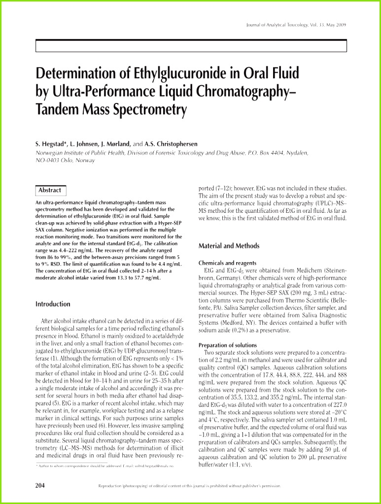 PDF Ethyl Glucuronide Concentrations in Oral Fluid Blood and Urine After Volunteers Drank 0 5 and 1 0 g kg Doses of Ethanol