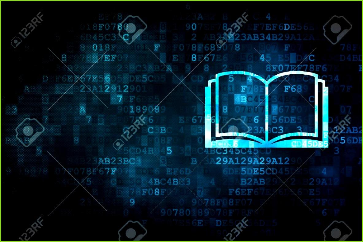 Konzept Lernen pixelig Buchsymbol auf digitale Hintergrund leere Exemplar für Karte Text