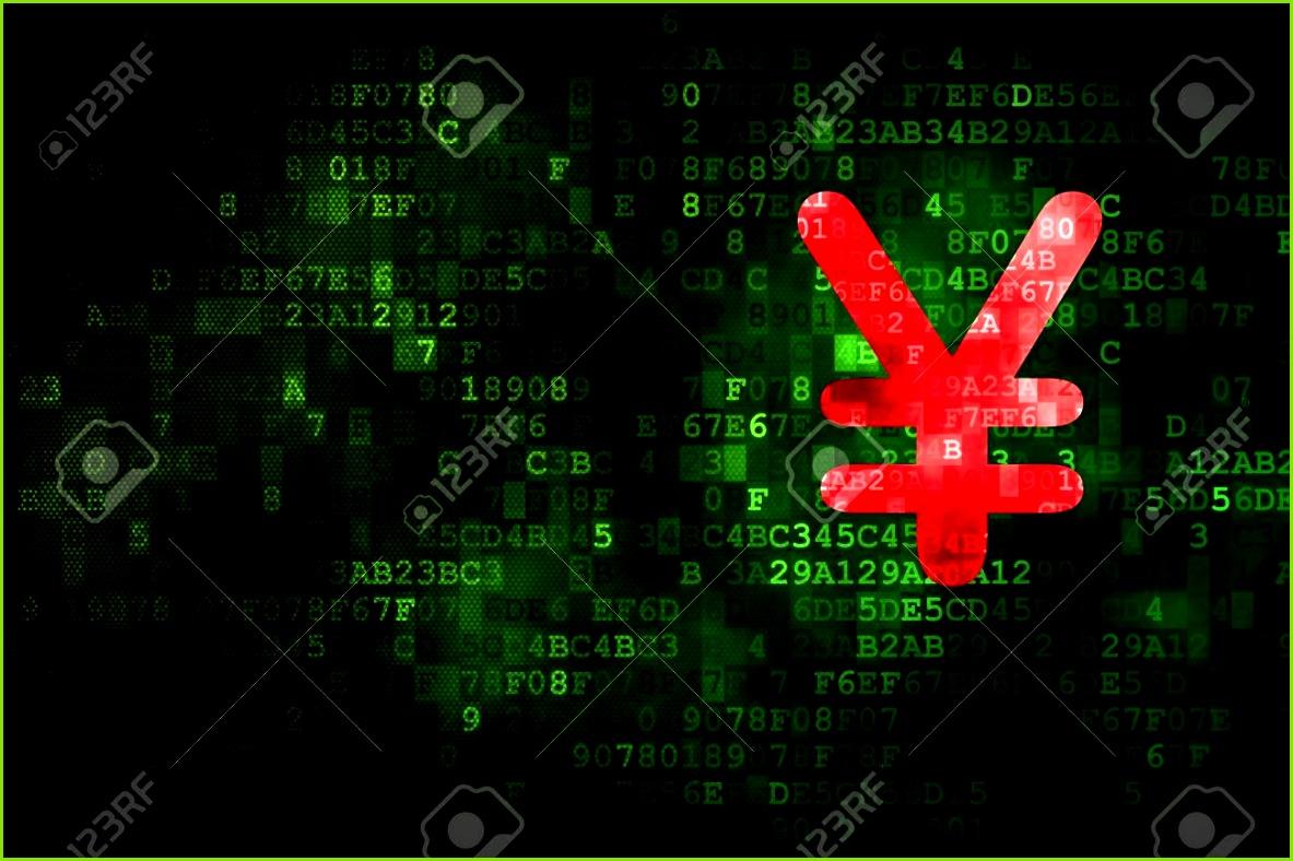 Währung Konzept pixelig Yen Symbol auf digitale Hintergrund leere copyspace für Karte