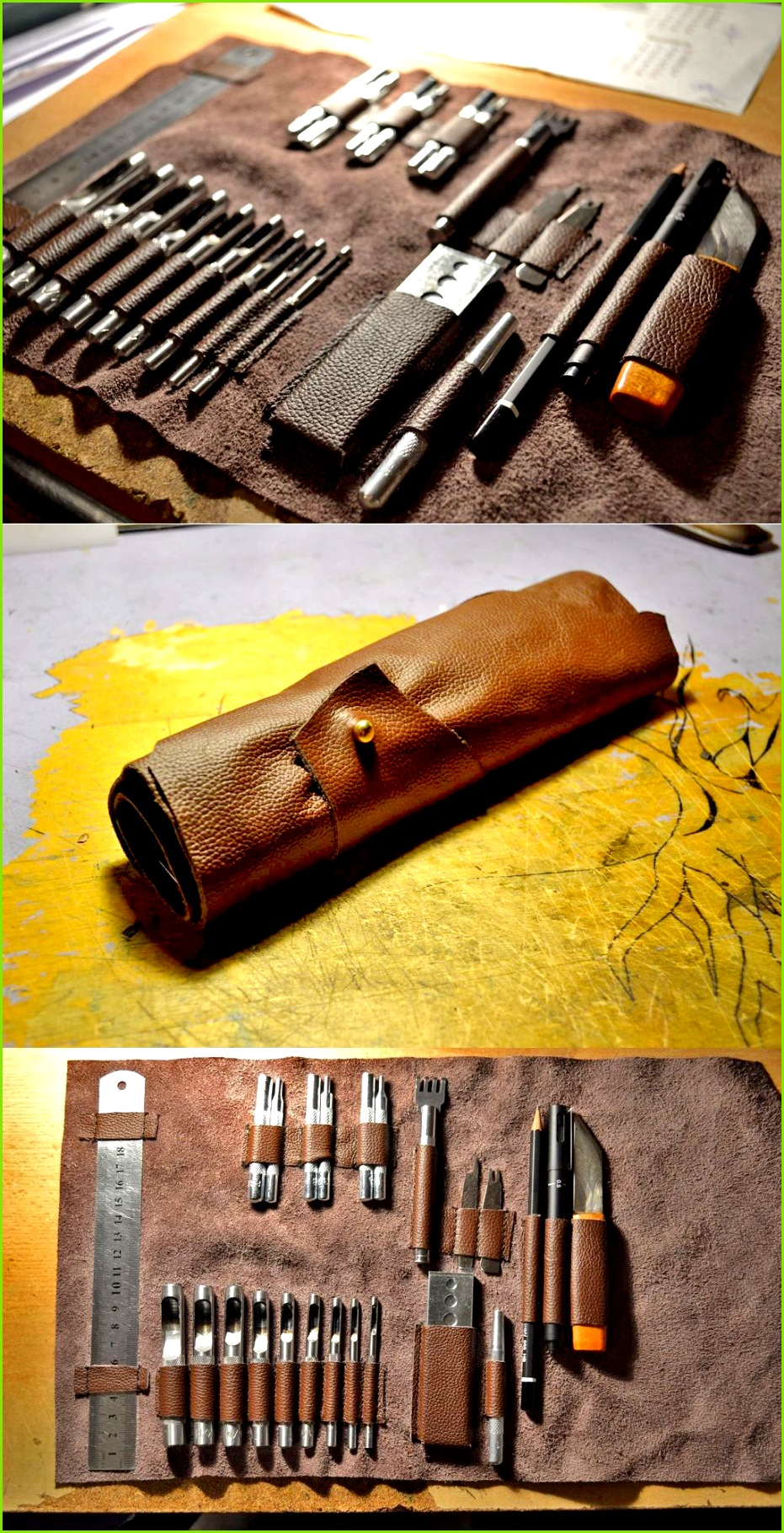 Customize a leather tool roll to fit your exact tools