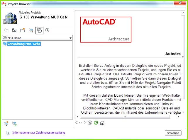 Im AutoCAD sind nun eine leere Zeichnung und ein Projekt Navigator Fenster zu sehen sein