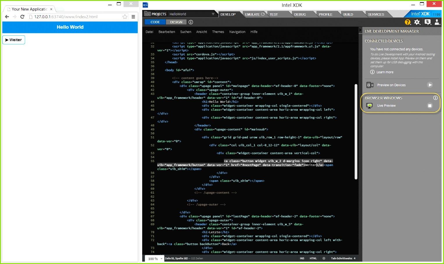 Abbildung 5 – Live Preview des HTML Code Editors